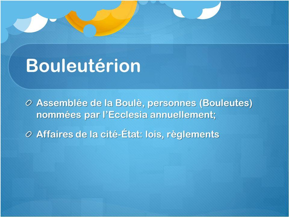 Bouleutérion Assemblée de la Boulè, personnes (Bouleutes) nommées par l'Ecclesia annuellement; Affaires de la cité-État: lois, règlements.