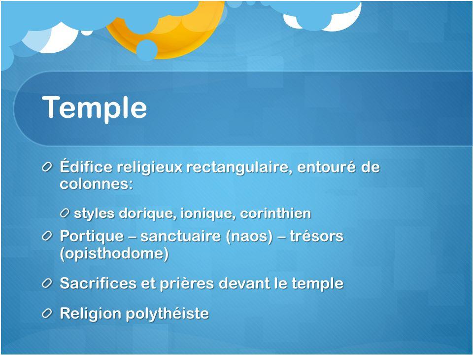 Temple Édifice religieux rectangulaire, entouré de colonnes: