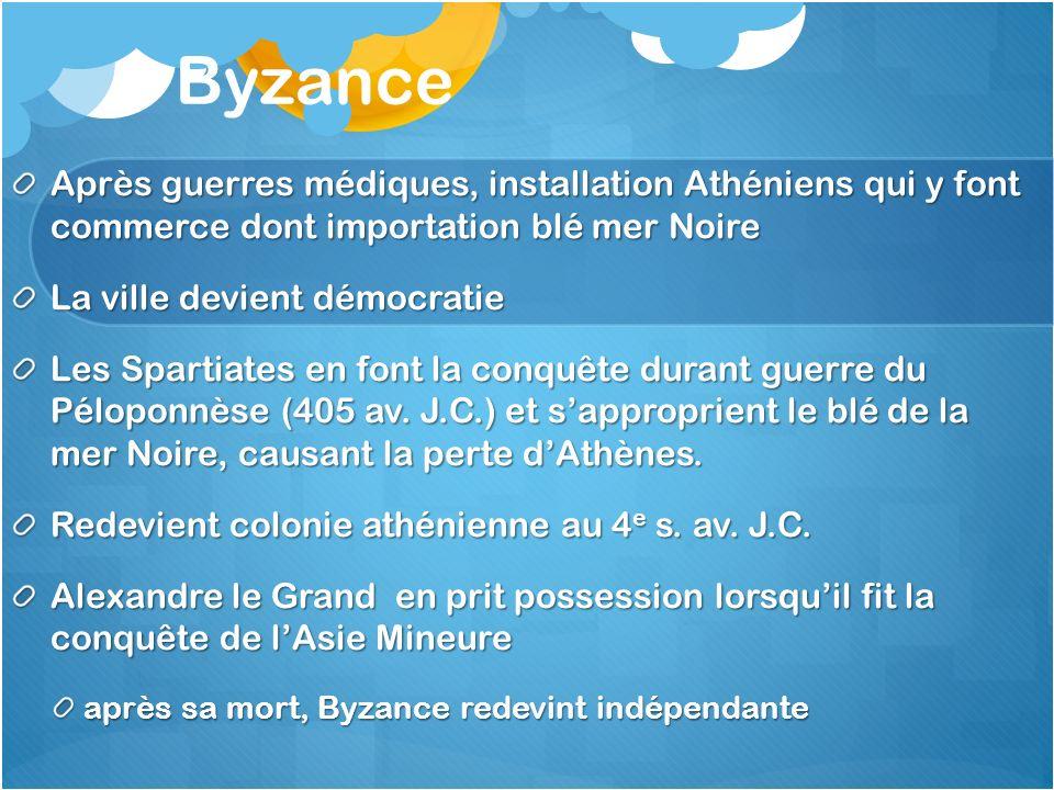Byzance Après guerres médiques, installation Athéniens qui y font commerce dont importation blé mer Noire.