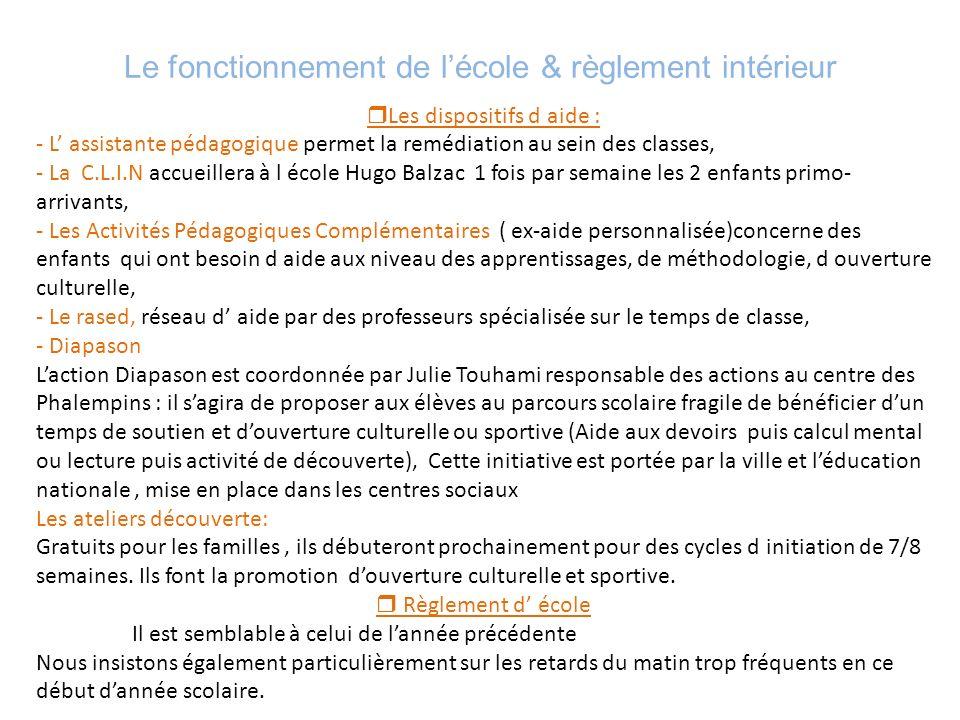 Le fonctionnement de l'école & règlement intérieur