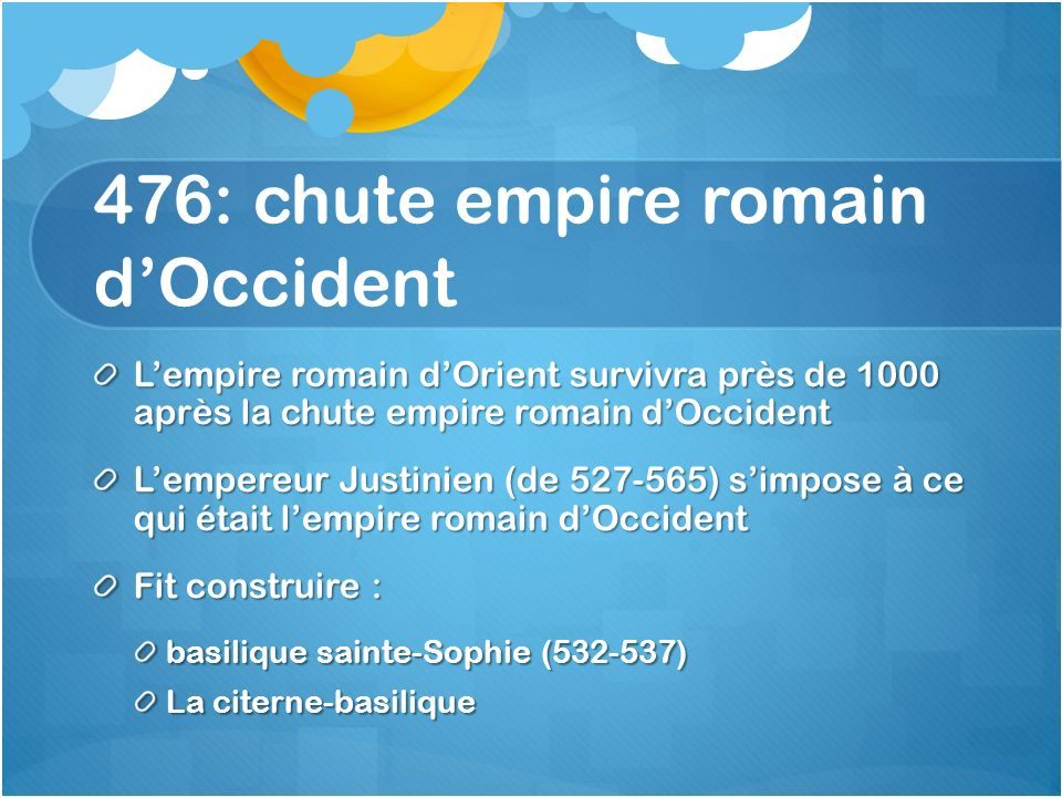 476: chute empire romain d'Occident