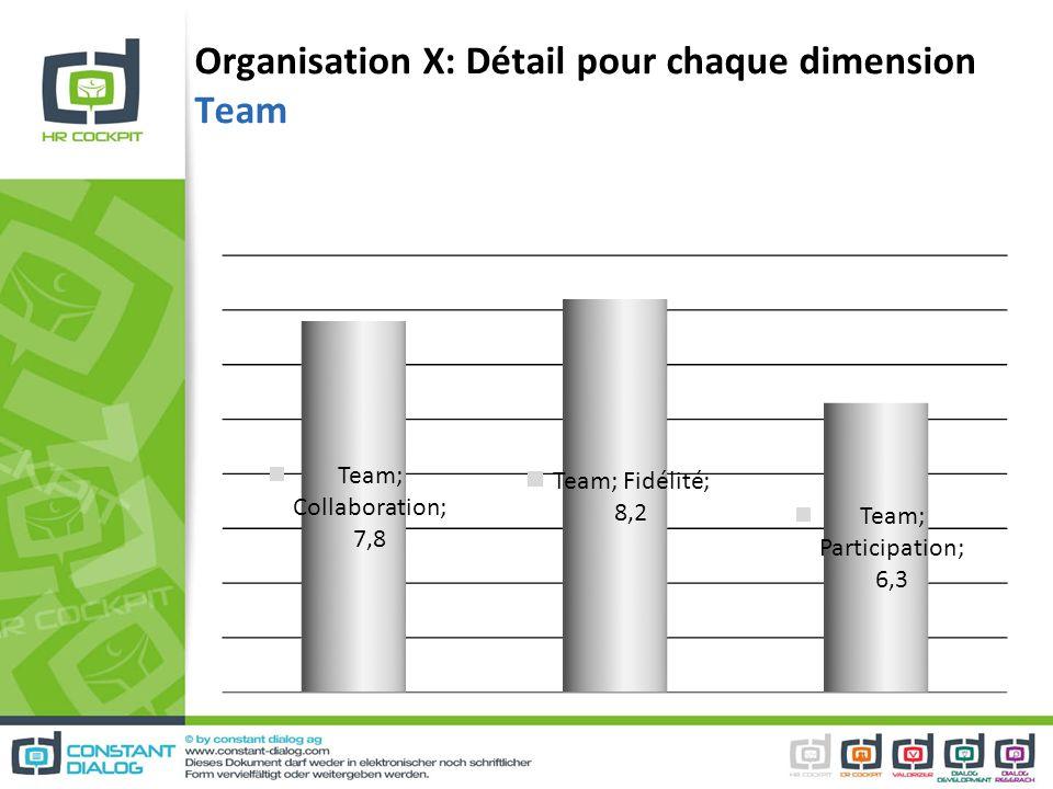Organisation X: Détail pour chaque dimension Team