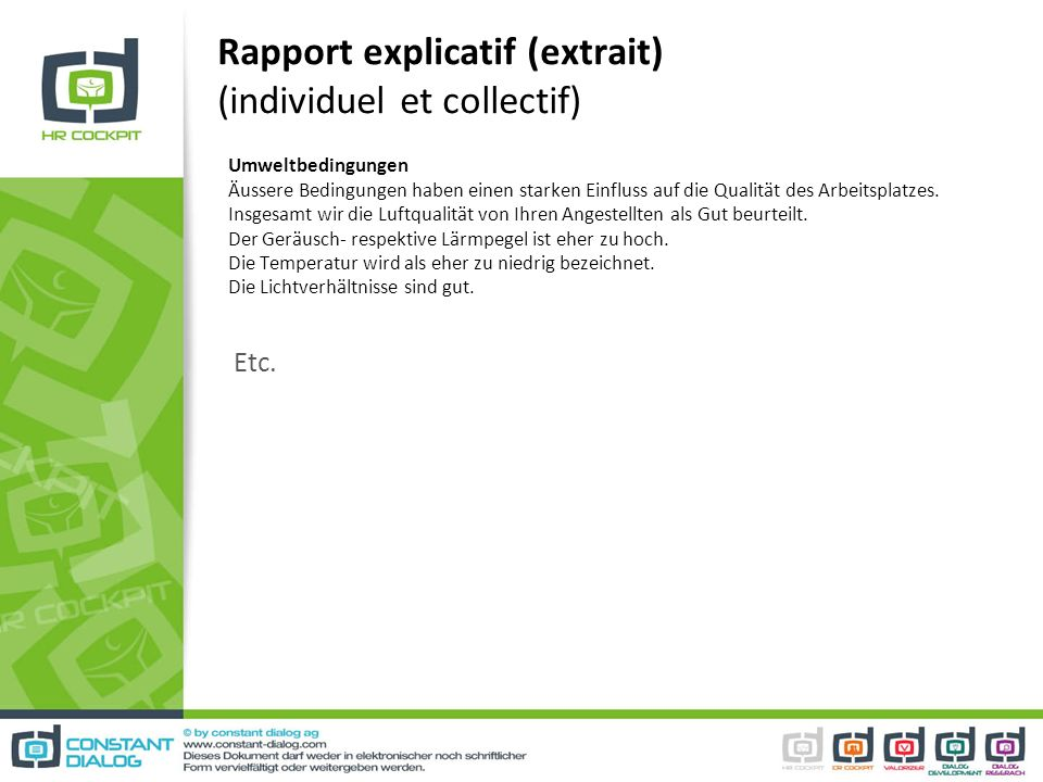 Rapport explicatif (extrait) (individuel et collectif)