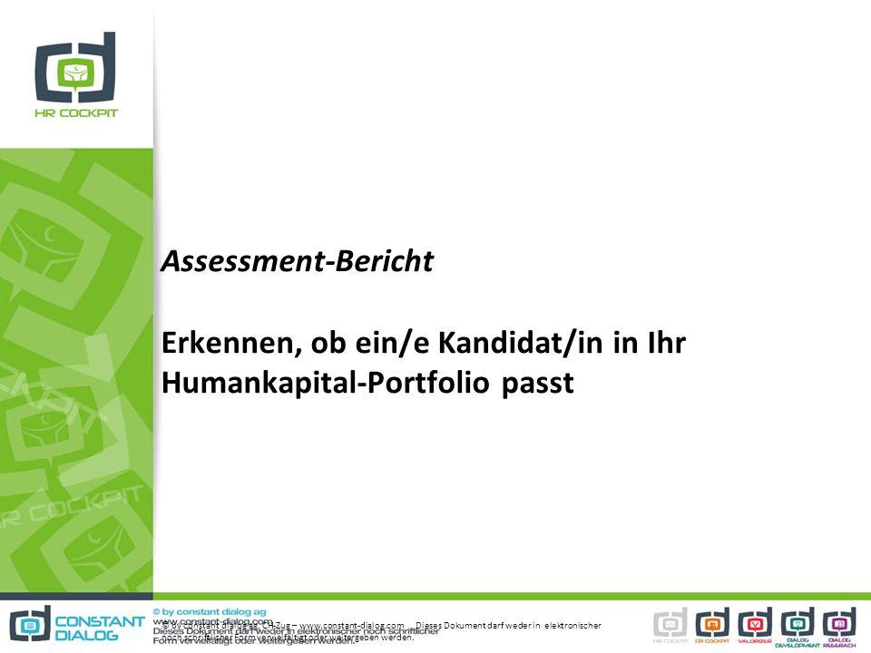 Assessment-Bericht Erkennen, ob ein/e Kandidat/in in Ihr Humankapital-Portfolio passt