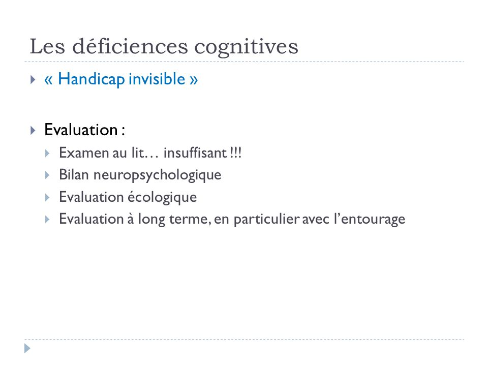 Les déficiences cognitives