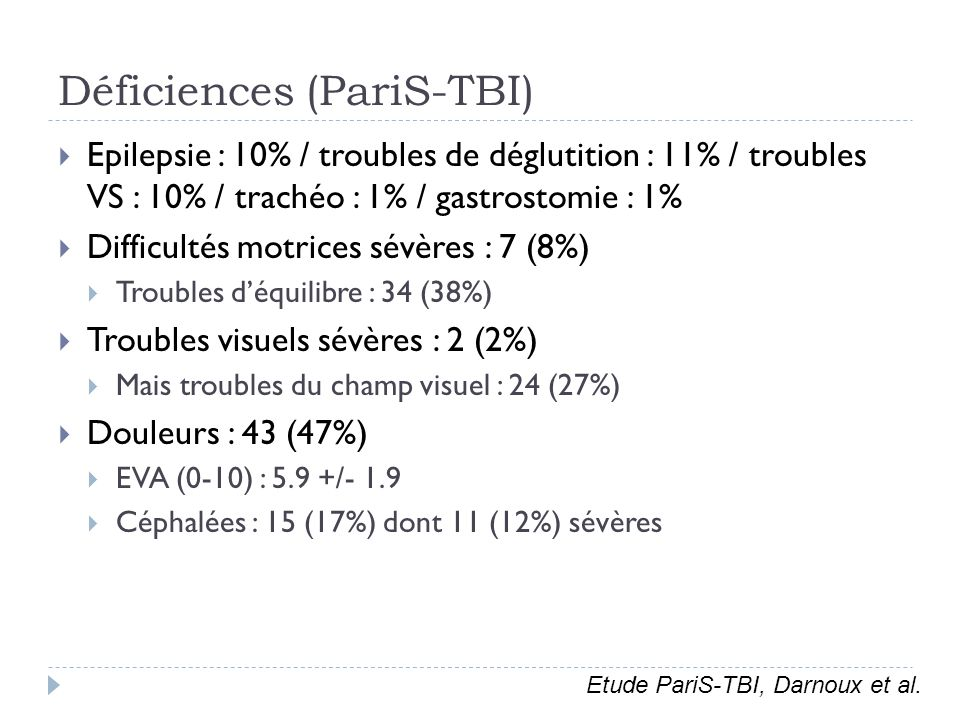 Déficiences (PariS-TBI)