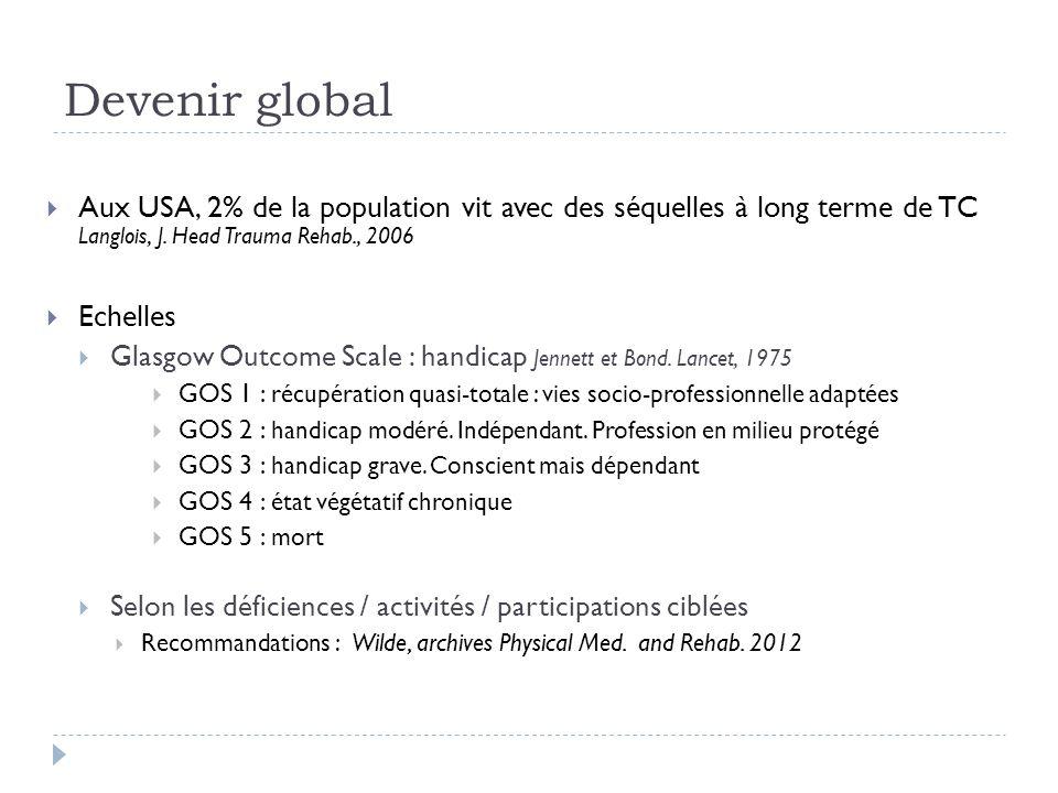 Devenir global Aux USA, 2% de la population vit avec des séquelles à long terme de TC Langlois, J. Head Trauma Rehab., 2006.