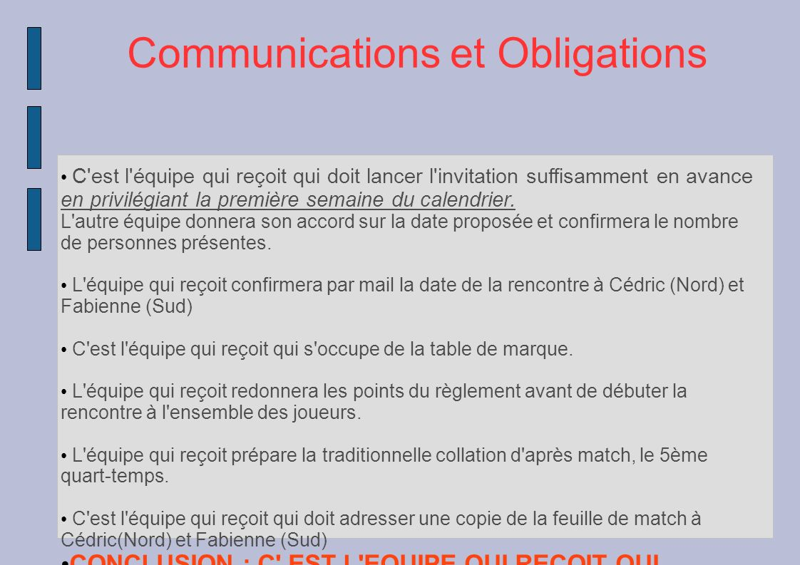 Communications et Obligations