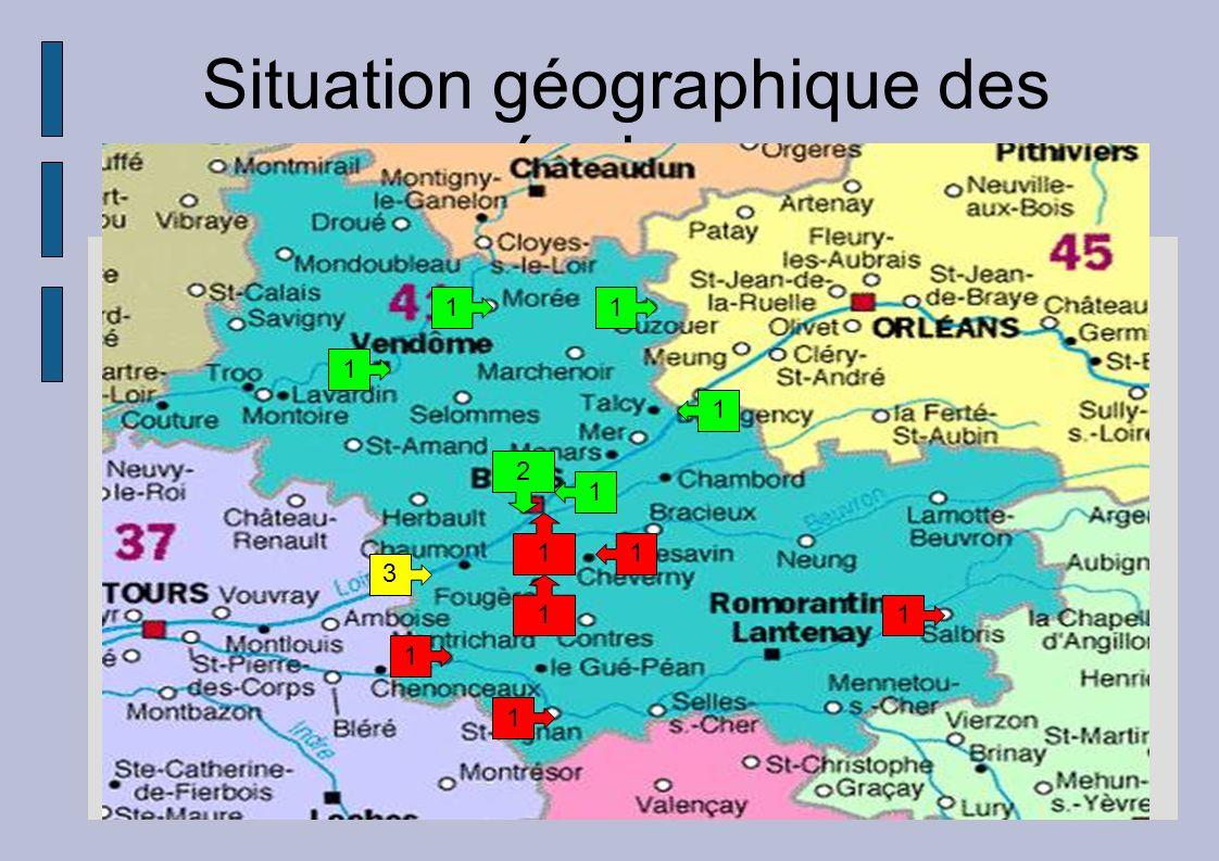 Situation géographique des équipes