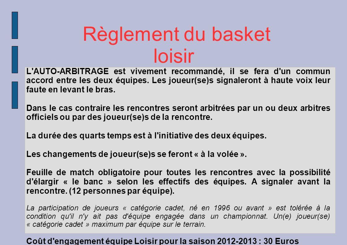 Règlement du basket loisir