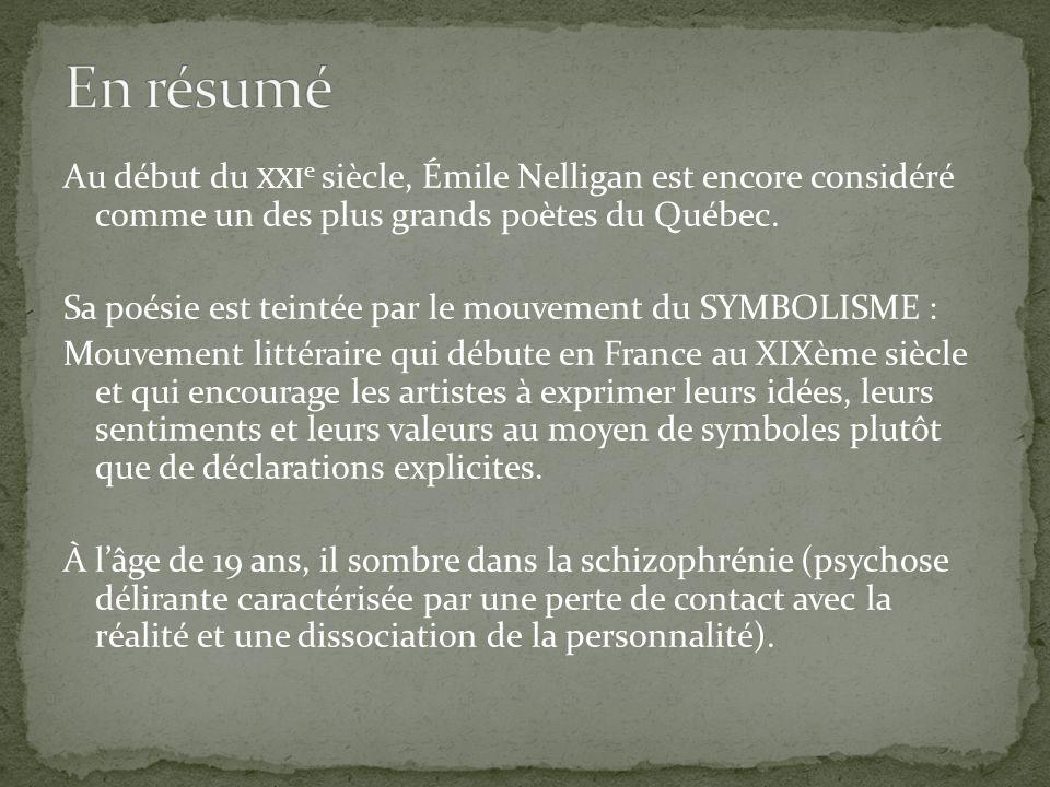 En résumé Au début du xxie siècle, Émile Nelligan est encore considéré comme un des plus grands poètes du Québec.