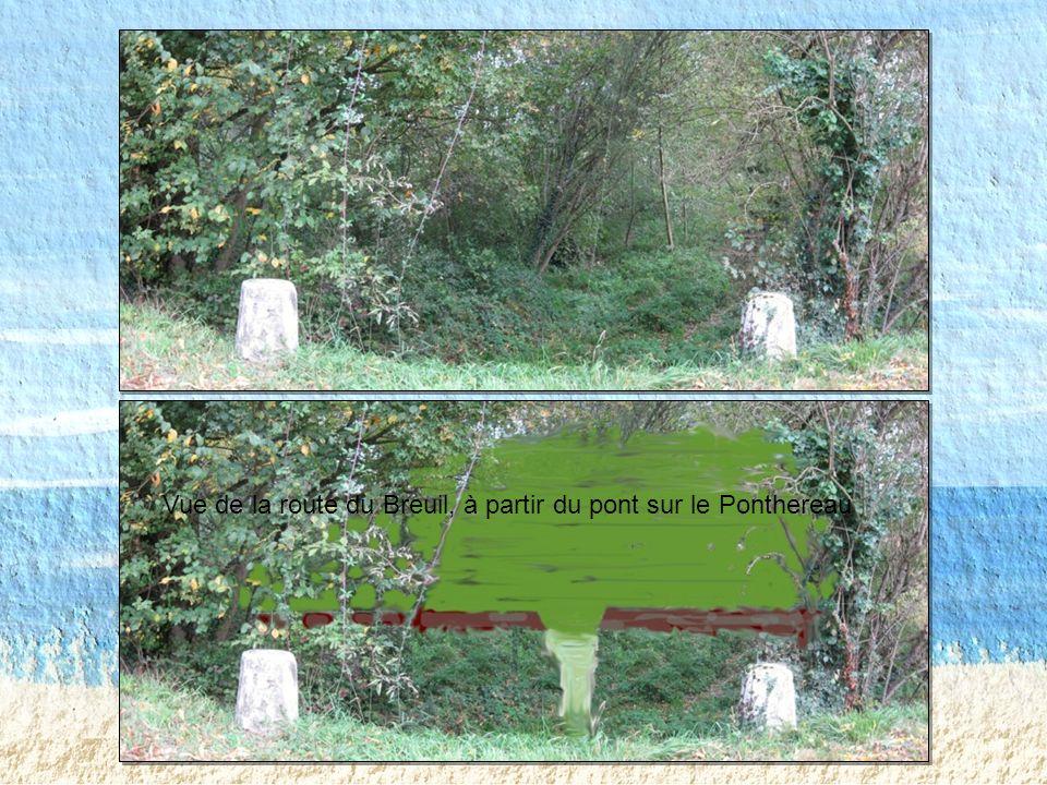 Vue de la route du Breuil, à partir du pont sur le Ponthereau
