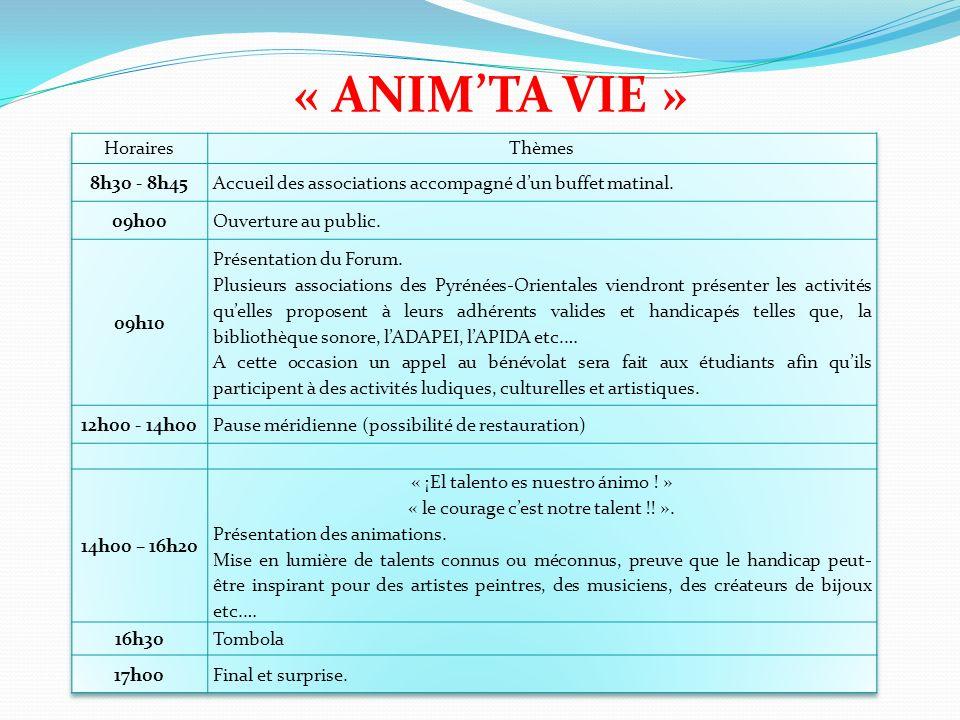 « ANIM'TA VIE » Horaires Thèmes 8h30 - 8h45