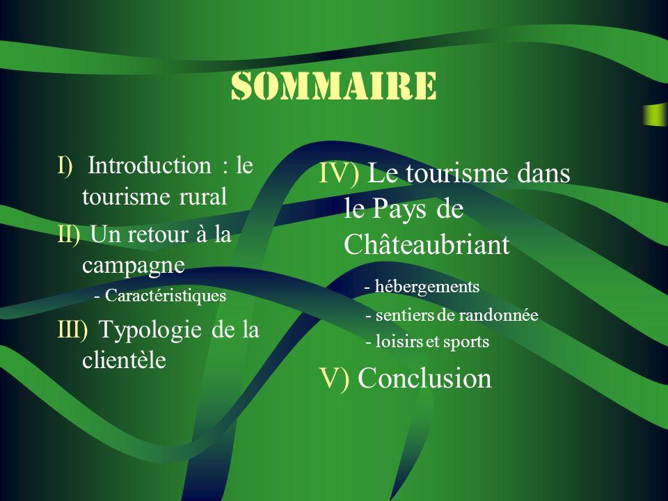 SOMMAIRE IV) Le tourisme dans le Pays de Châteaubriant V) Conclusion