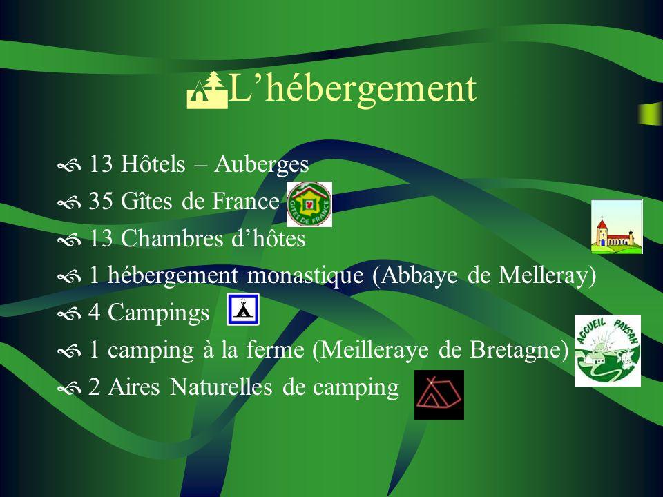 L'hébergement 13 Hôtels – Auberges 35 Gîtes de France