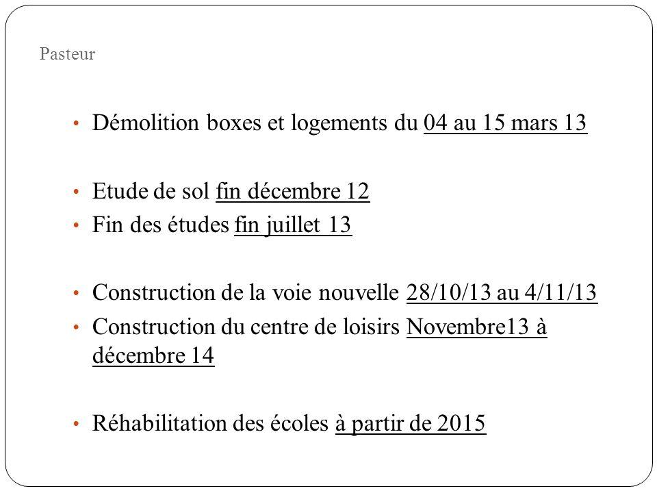 Démolition boxes et logements du 04 au 15 mars 13