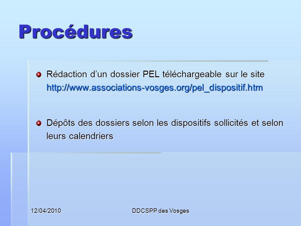Procédures Rédaction d'un dossier PEL téléchargeable sur le site http://www.associations-vosges.org/pel_dispositif.htm.
