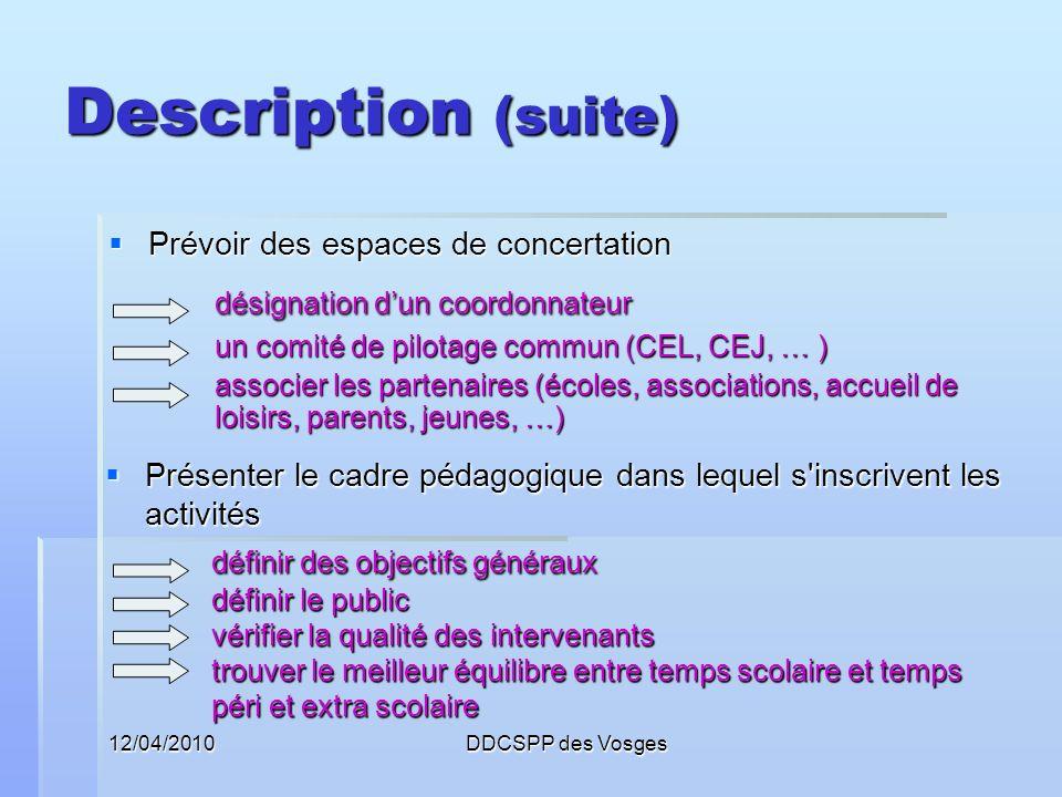 Description (suite) désignation d'un coordonnateur