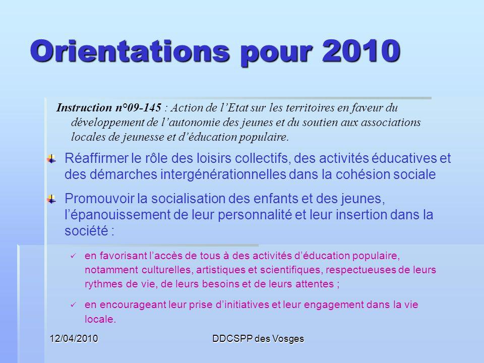 Orientations pour 2010