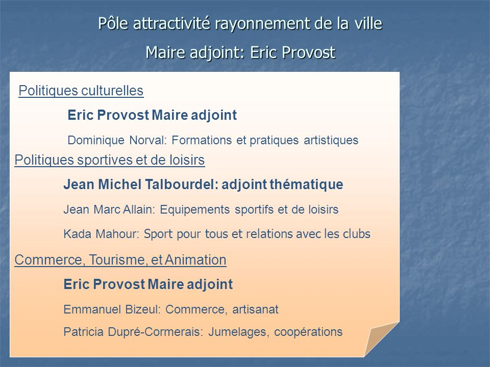 Pôle attractivité rayonnement de la ville Maire adjoint: Eric Provost