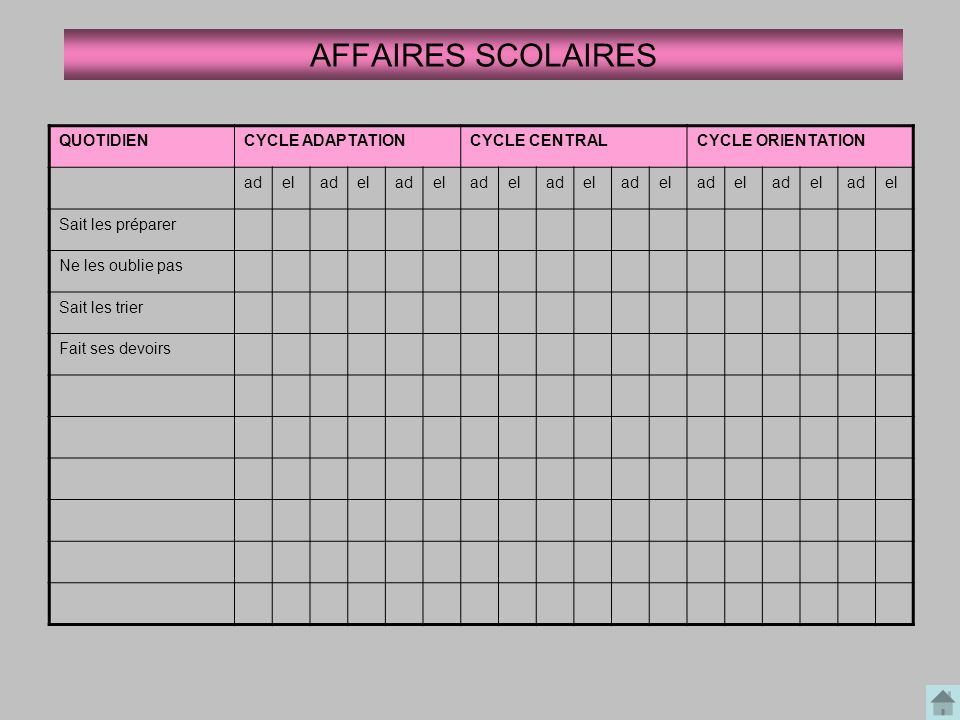 AFFAIRES SCOLAIRES QUOTIDIEN CYCLE ADAPTATION CYCLE CENTRAL