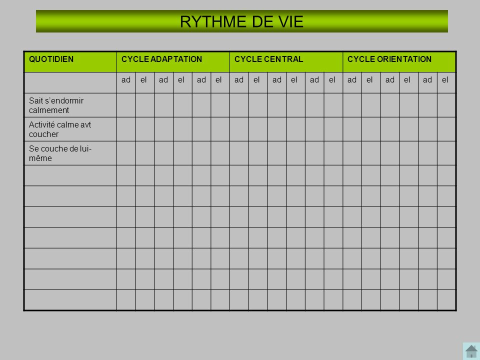 RYTHME DE VIE QUOTIDIEN CYCLE ADAPTATION CYCLE CENTRAL