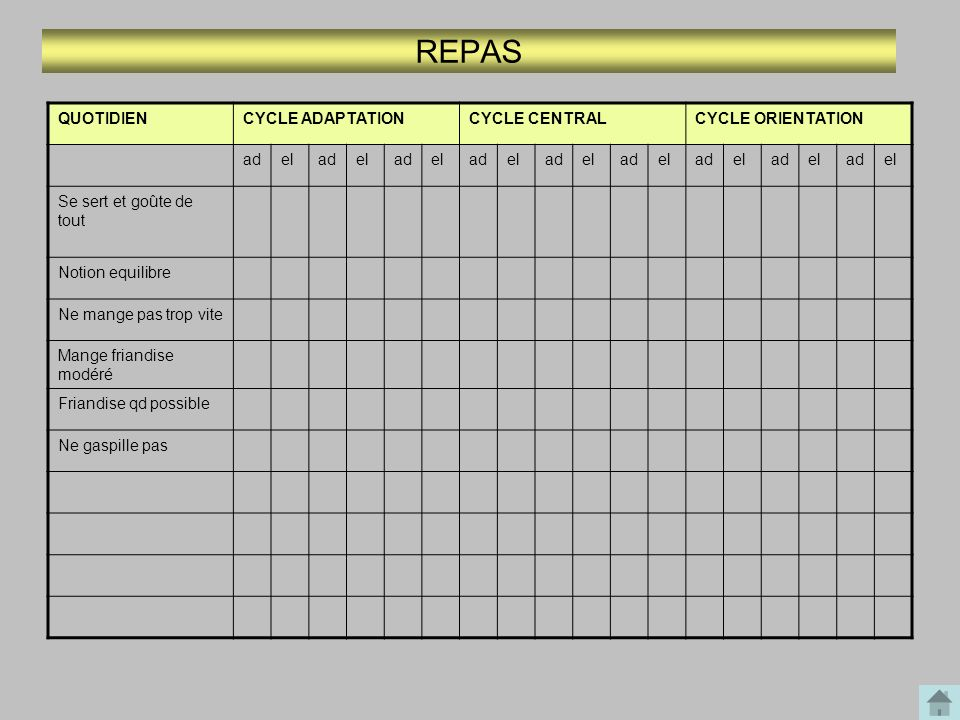 REPAS QUOTIDIEN CYCLE ADAPTATION CYCLE CENTRAL CYCLE ORIENTATION ad el