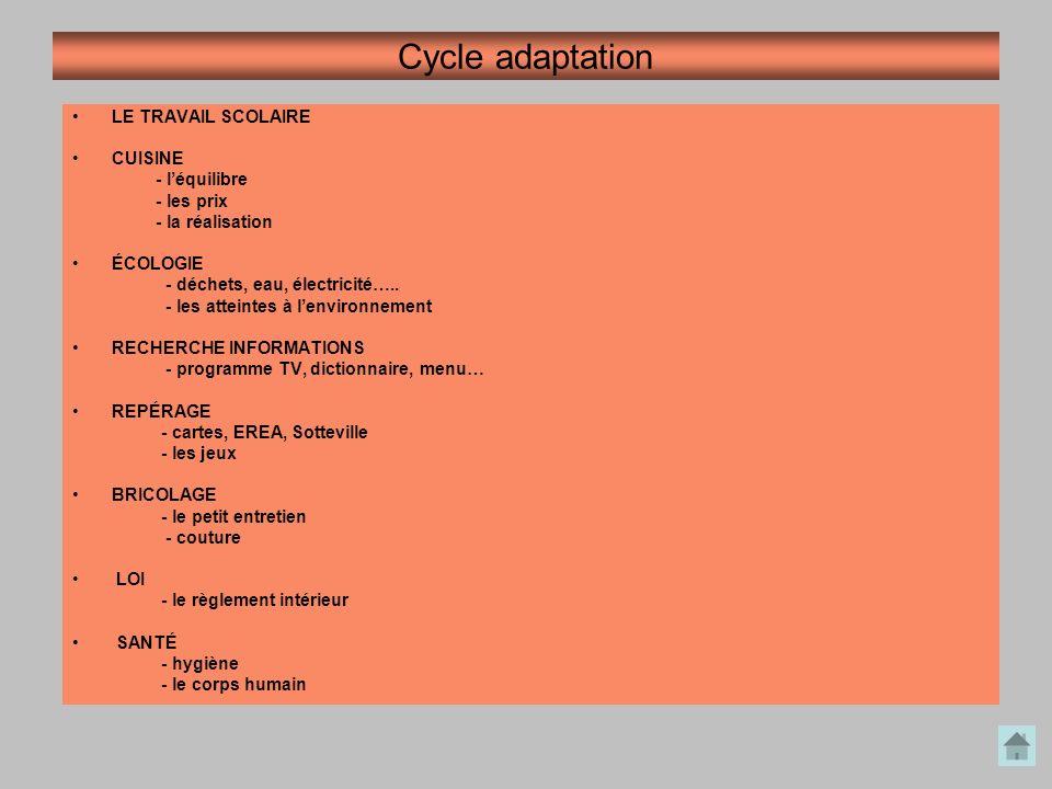 Cycle adaptation LE TRAVAIL SCOLAIRE CUISINE - l'équilibre - les prix