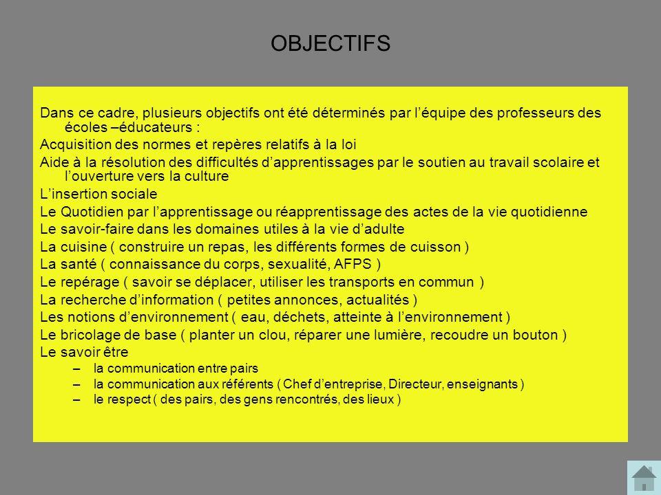 OBJECTIFS Dans ce cadre, plusieurs objectifs ont été déterminés par l'équipe des professeurs des écoles –éducateurs :