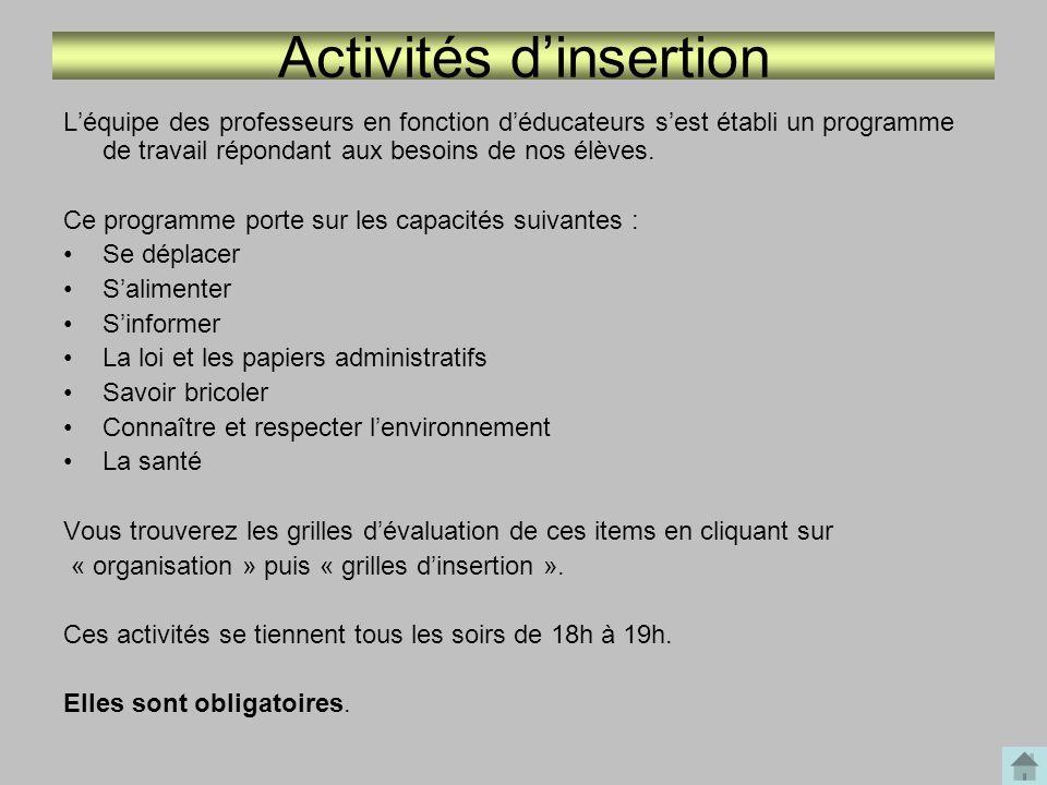 Activités d'insertion