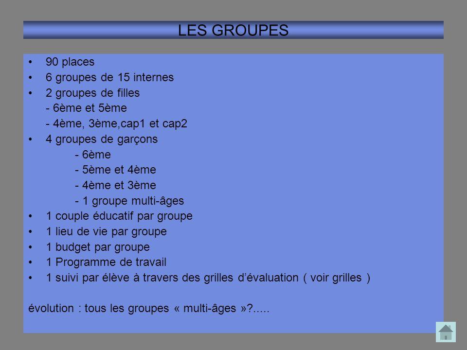 LES GROUPES 90 places 6 groupes de 15 internes 2 groupes de filles