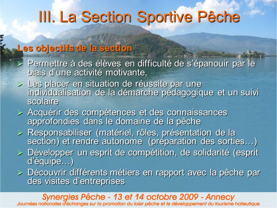 III. La Section Sportive Pêche