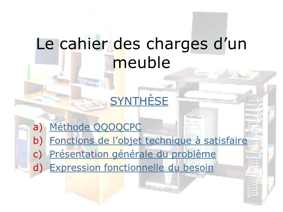 le cahier des charges d un meuble ppt video online t l charger. Black Bedroom Furniture Sets. Home Design Ideas