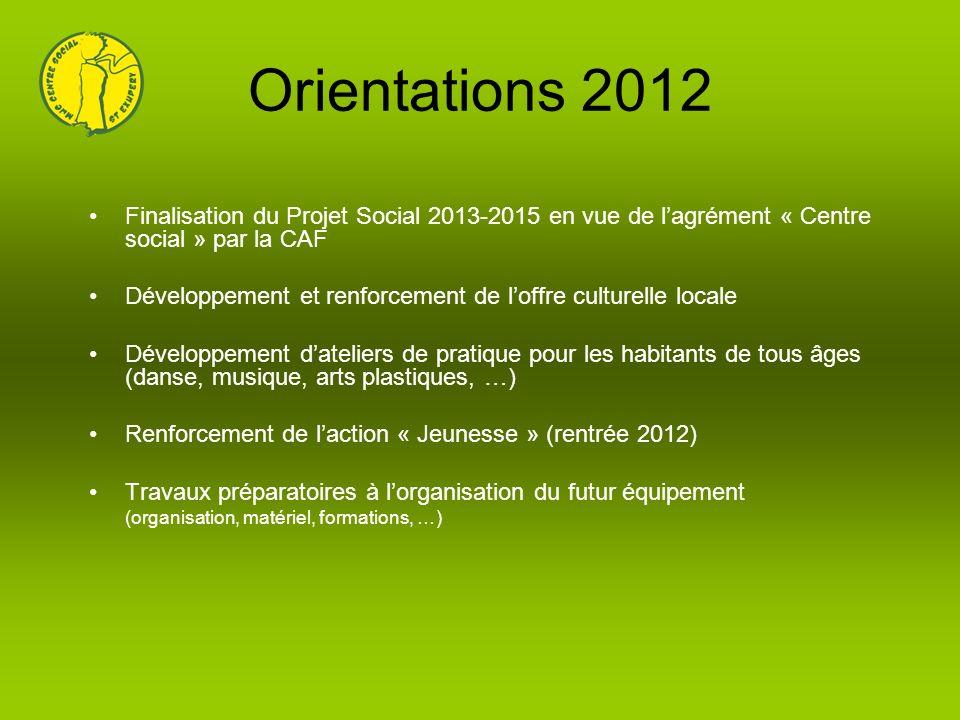 Orientations 2012 Finalisation du Projet Social 2013-2015 en vue de l'agrément « Centre social » par la CAF.