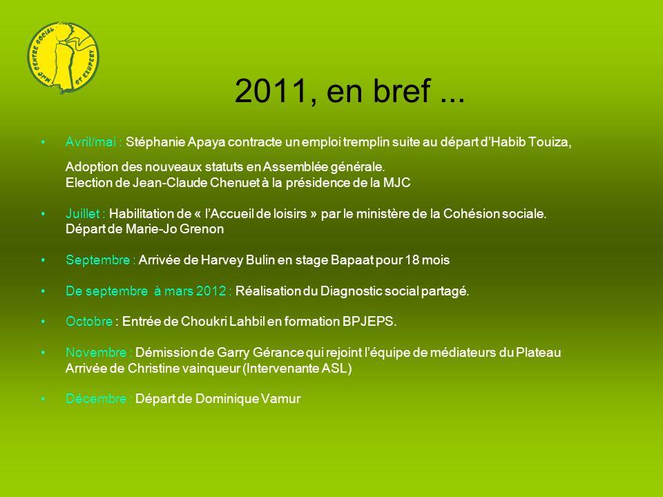 2011, en bref ... Avril/mai : Stéphanie Apaya contracte un emploi tremplin suite au départ d'Habib Touiza,