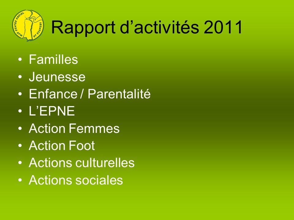 Rapport d'activités 2011 Familles Jeunesse Enfance / Parentalité
