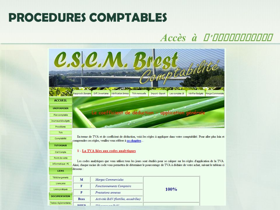 PROCEDURES COMPTABLES