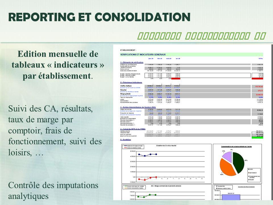 Edition mensuelle de tableaux « indicateurs » par établissement.