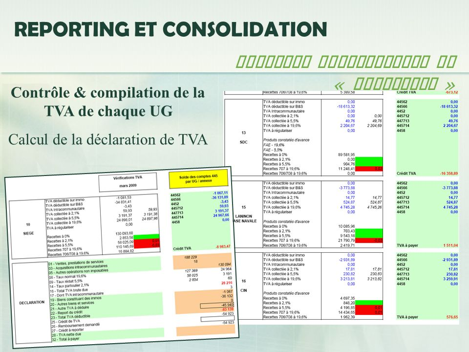 Contrôle & compilation de la TVA de chaque UG