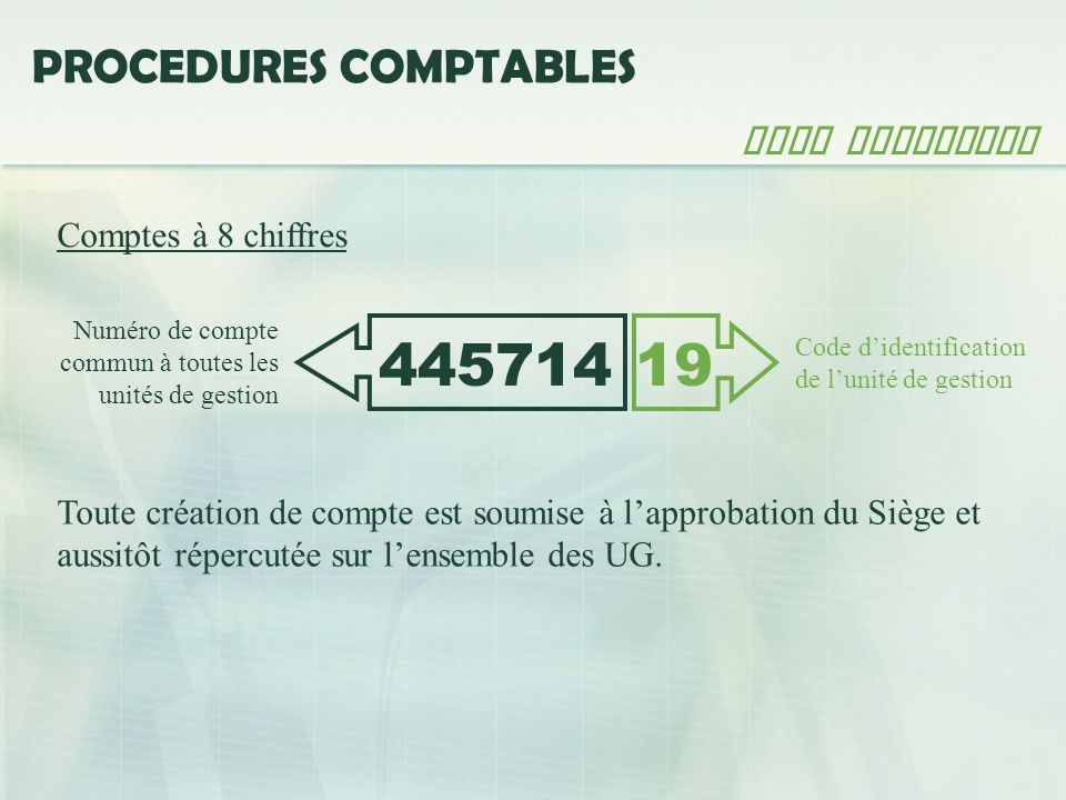445714 19 PROCEDURES COMPTABLES Plan comptable Comptes à 8 chiffres