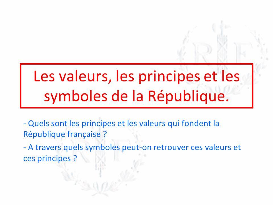 Les valeurs, les principes et les symboles de la République.