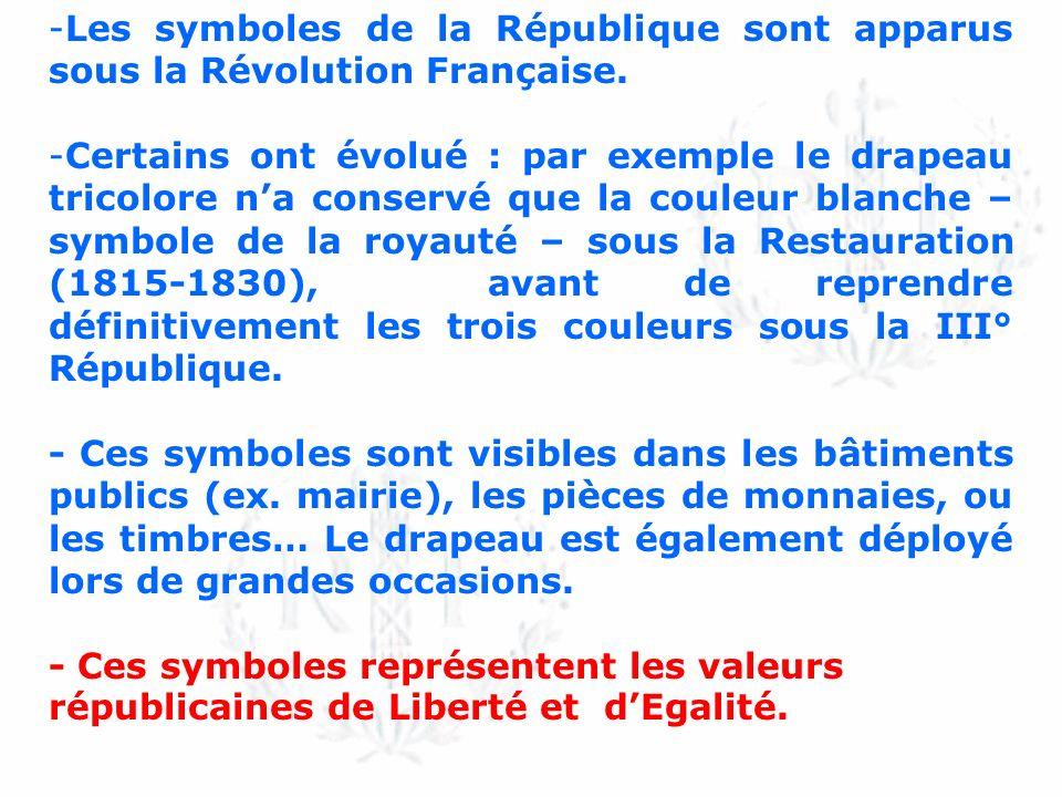 Les symboles de la République sont apparus sous la Révolution Française.
