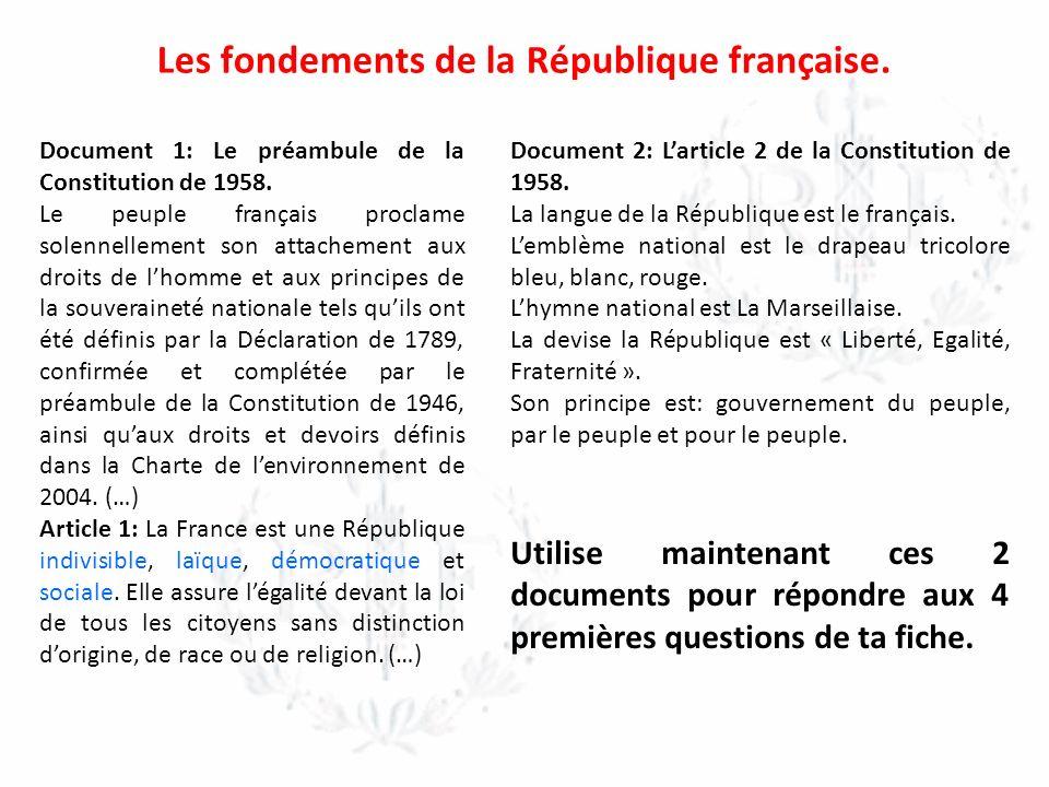 Les fondements de la République française.