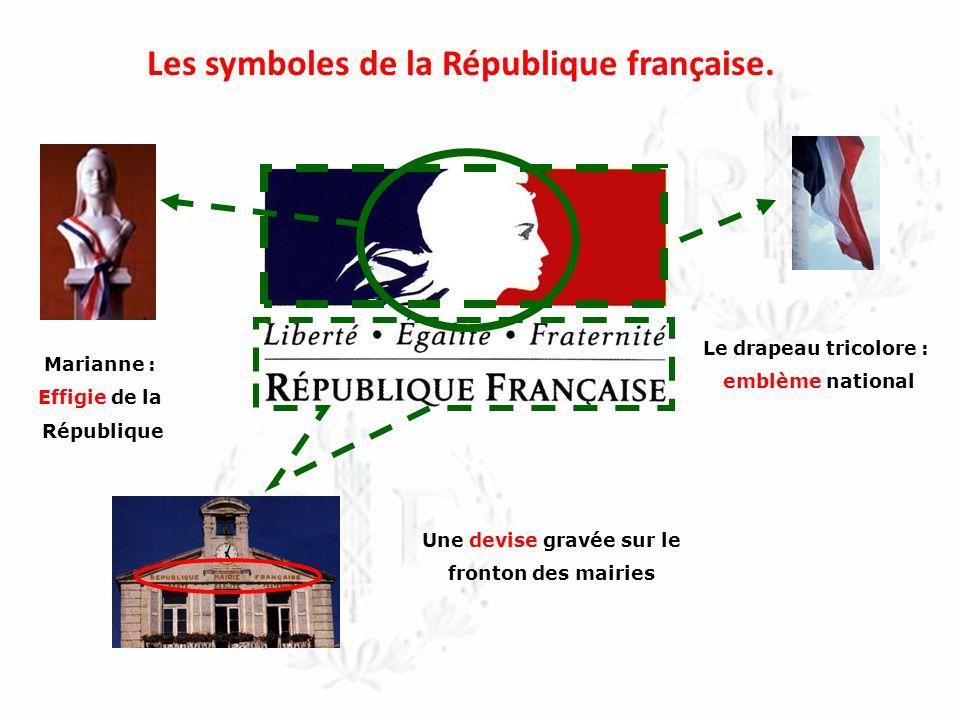 Les symboles de la République française. Une devise gravée sur le