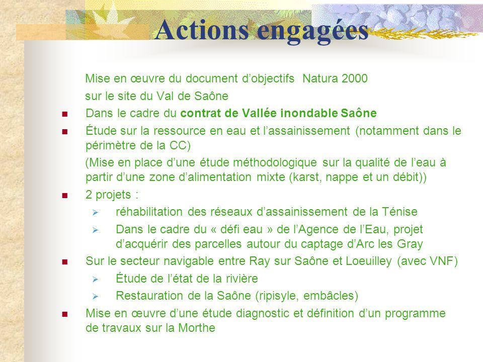 Actions engagées Mise en œuvre du document d'objectifs Natura 2000