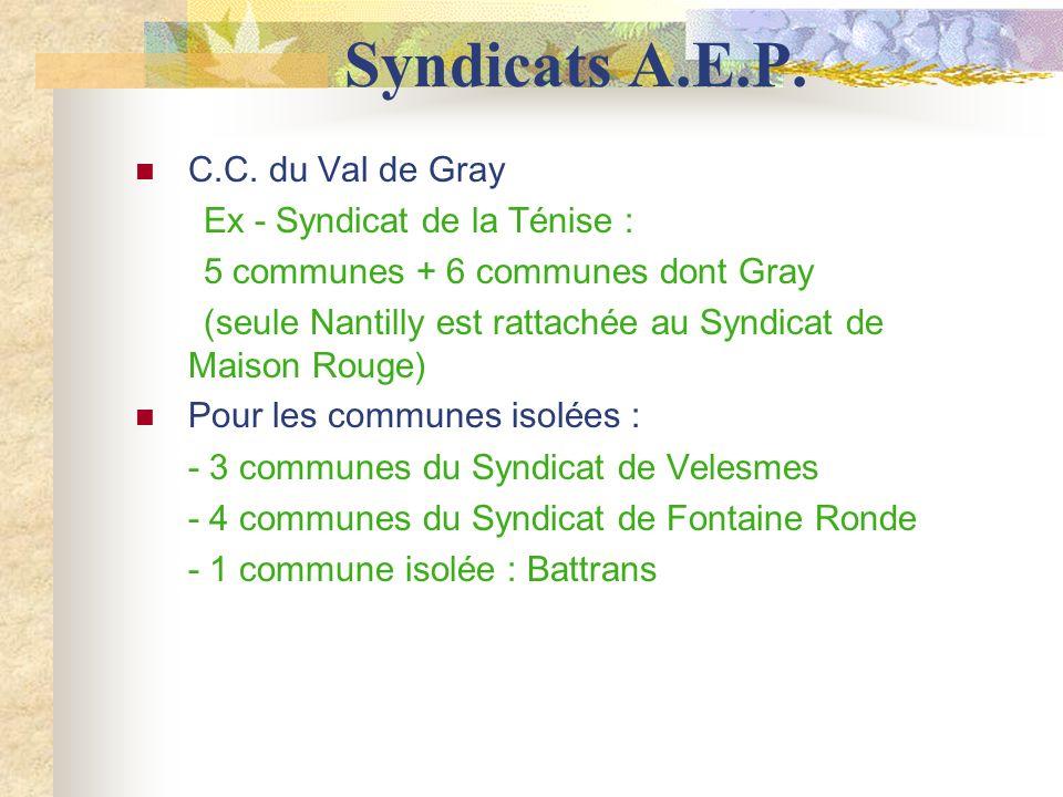 Syndicats A.E.P. C.C. du Val de Gray Ex - Syndicat de la Ténise :