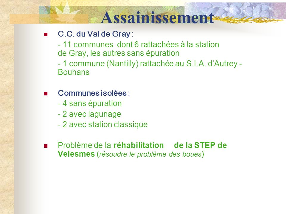 Assainissement C.C. du Val de Gray :