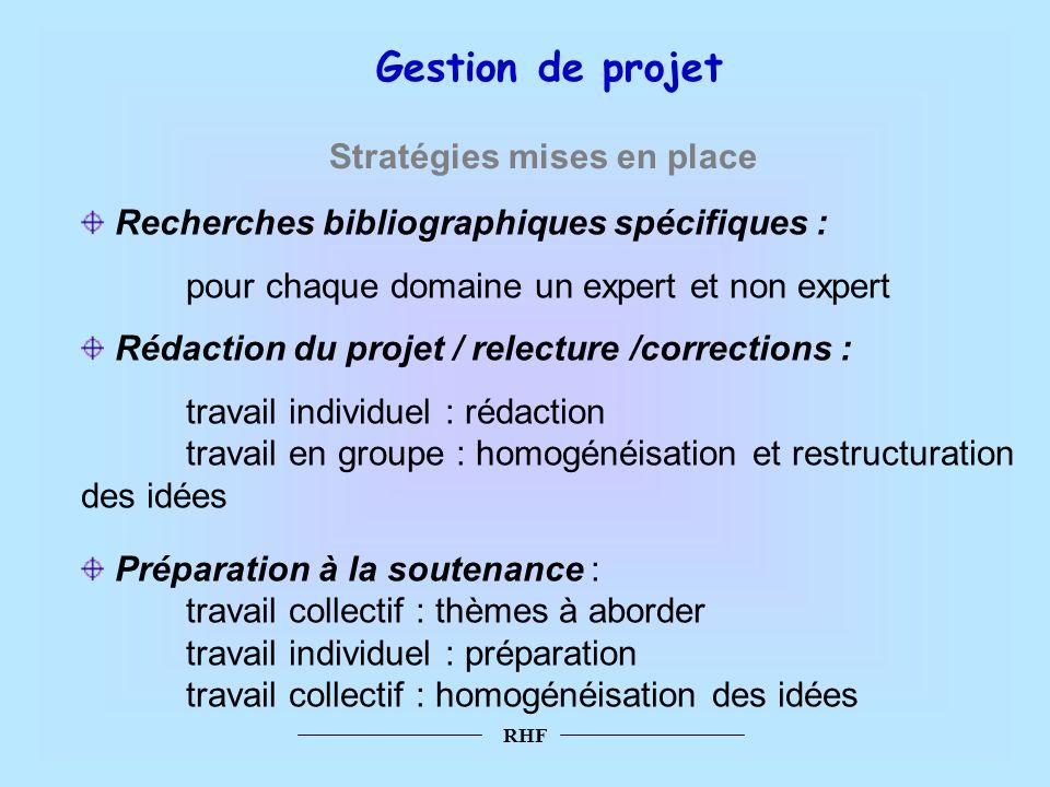 Gestion de projet Stratégies mises en place