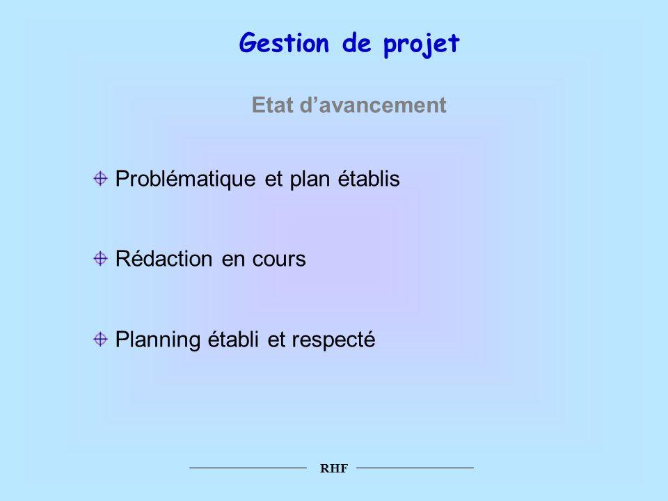Gestion de projet Etat d'avancement Problématique et plan établis