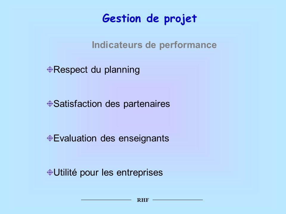 Gestion de projet Indicateurs de performance Respect du planning